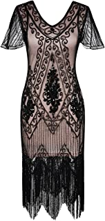 Women's Flapper Dresses 1920s Sequins Art Deco Gatsby Cocktail Dress with Sleeve