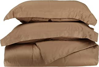 Superior 100% Premium Combed Cotton, Soft Single Ply Sateen, 2-Piece Duvet Cover Set, Solid, Twin/Twin XL - Taupe