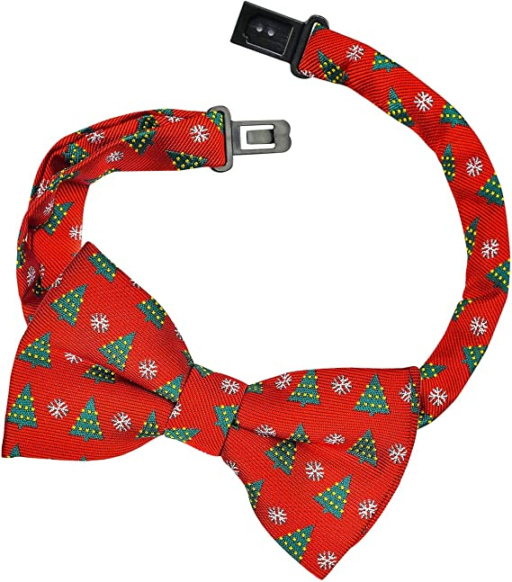 Retreez Christmas Tree and Snowflakes Woven Pre-tied Boys Tie