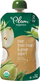Plum Organics Stage 2, Organic Baby Food, Pear, Green Bean and Greek Yogurt, 3.5 ounce pouches (Pack of 12) (Packaging May Vary)