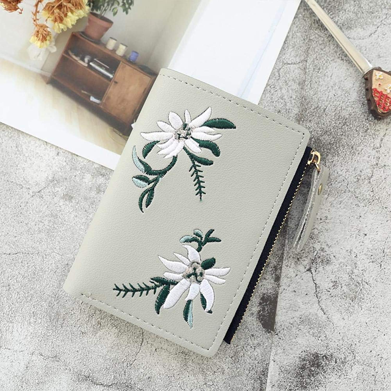 Girls Purse Women's Wallet,Women's Embroidery Decorative Buckle 20 Percent Coin Clip Student Wallet 17.5  13  2cm (color   B)