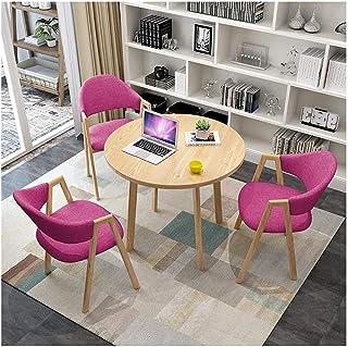 Table de salle à manger ronde et chaises - Lot de 3 - Simple - 80 cm - Petite table de balcon - Pour la maison, le jardin,...