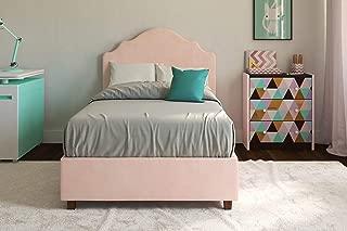DHP Savannah Upholstered Platform Bed, Pink, Twin