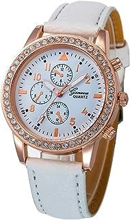 St.Dona Women's Luxury Watch, S9908 Woman Ladies Fashion Dress Watches PU Leather Band Strap Bracelet Analog Crystal Quartz Wrist Watch by (WH)