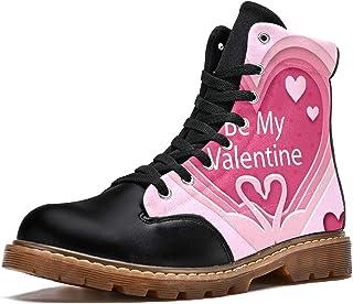 LORVIES Be My Valentine Angle Red Love Bottes d'hiver Chaussures Montantes en Toile à Lacets pour Hommes