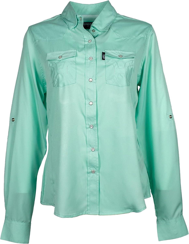 HOOEY Ladies Western Sol Long Sleeve Pearl Snap Button Down Shirt