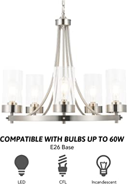 CO-Z 5 Light Chandelier Brushed Nickel, Modern Dining Room Light Fixture Hanging with Clear Glass Shade, Wagon Wheel Chandeli