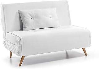 comprar comparacion Kave Home - Sofá Cama Clic clac de 2 plazas Tupana en Piel sintética Blanca con Patas de Madera de Haya