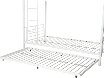 WE Furniture Walker Edison Doble Metal Nido Cama, Metal, Blanco, Cama Individual