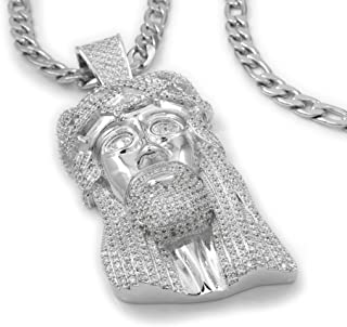 NIV'S BLING - 18k White Gold Plated Cubic Zirconia Jesus Piece with Figaro Chain