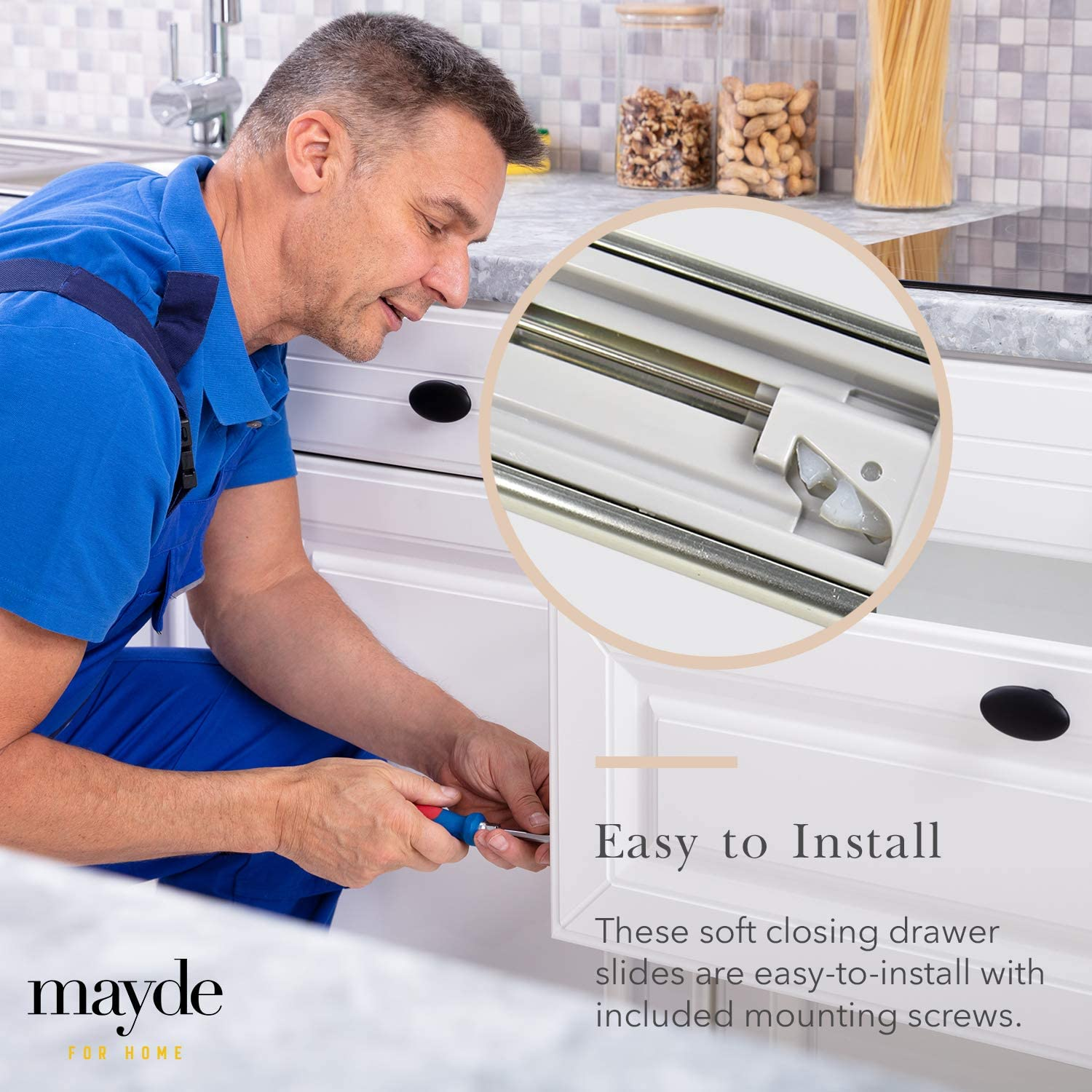 Mayde Soft Close Drawer Slides Heavy Duty Cabinet Drawer Slides 10-Pairs Dual Springs with Triple Ball Bearings 22 Inch Length 50,000 Pull Life Cycle