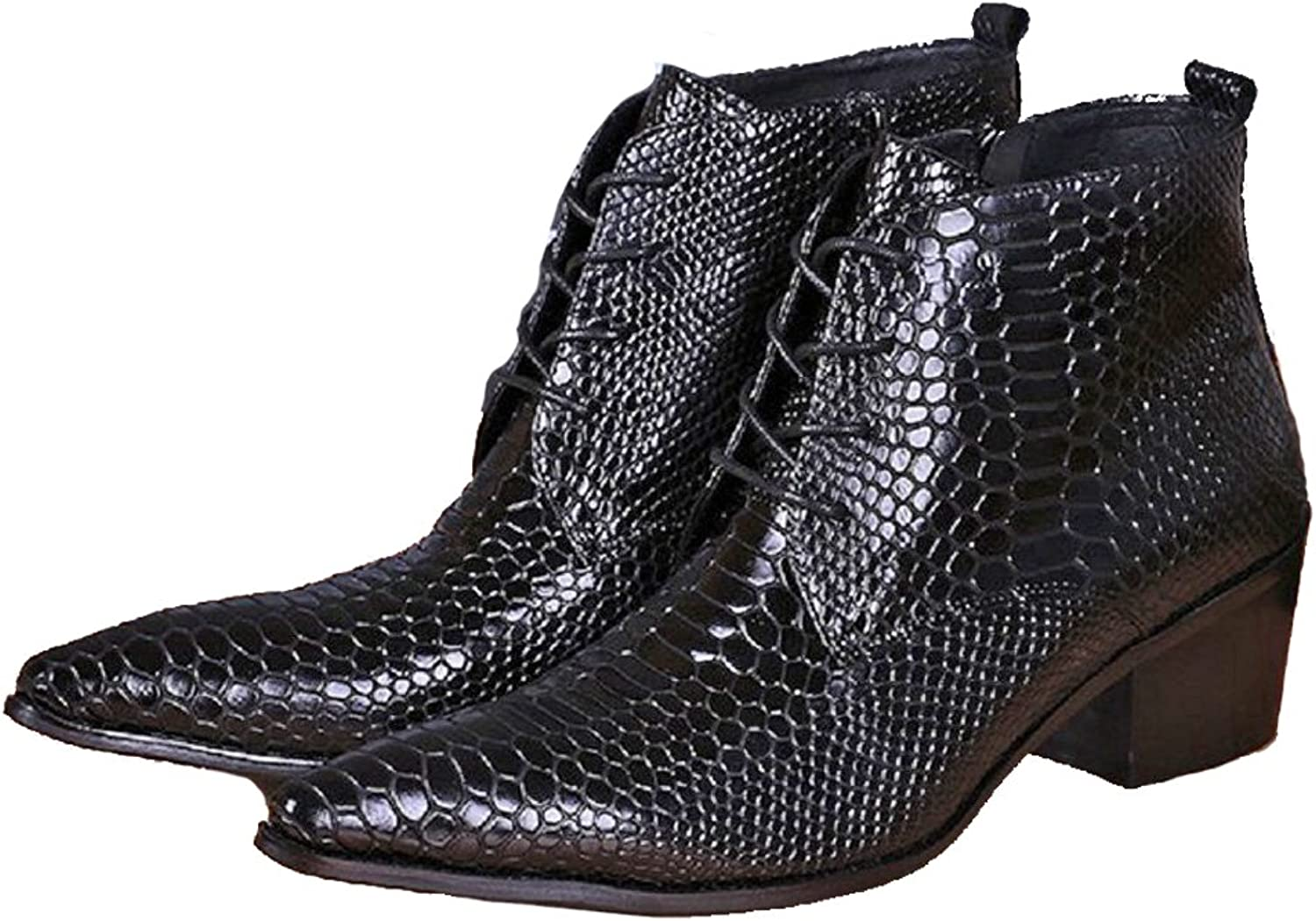 Cover Plus Size 5-12 New Black Alligator Print Genuine Leather Dress Zip Ankle Boots Mens shoes