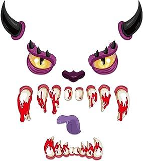 هومارك هالوين وجه الوحش ديكورات خارجي هالوين ديكور باب المرآب ملصقات مع قرون عيون أنف لسان للهالووين لوازم الديكور الخارجية