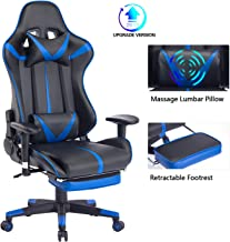 Blue Whale Massage Gaming Chair with Retractable Footrest,Adjustable Massage Lumbar Cushion and Headrest- High Back Ergonomic Leather Racing Executive Desk Computer Office Chair BW192 Blue