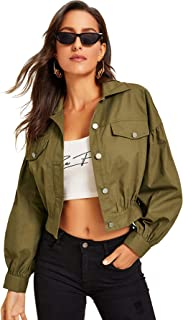 Milumia Womens Casual Button Front Long Bishop Sleeve Lightweight Jacket Outwear