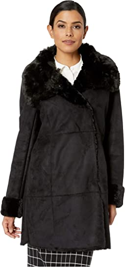 Asymmetrical Faux Shearling Coat
