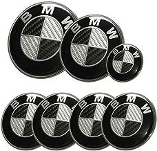 Replacement Black Carbon Fiber Round 7pcs 82mm Front 73mm Back 44mm Steering 68mm Wheel Caps Emblem