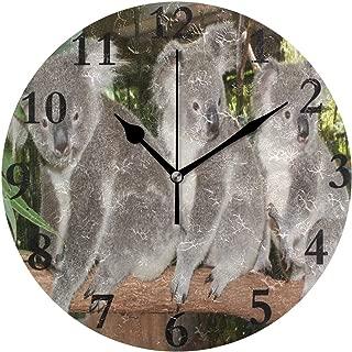 Dozili Huggable Australia Bears Koalas Animals Round Wall Clock Arabic Numerals Design Non Ticking Wall Clock Large for Bedrooms,Living Room,Bathroom
