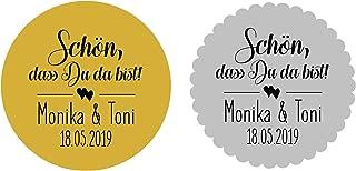 24 Aufkleber Sticker Etiketten Schön dass Du da bist Gold Silber Hochzeit Taufe