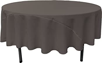 LA Linen 90-Inch Round Polyester Poplin Tablecloth, Charcoal