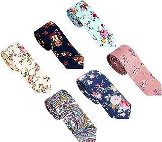 Men's Neck Ties, Cotton or Silk Floral Printed Slim Skinny Ties for Men Boys Neckties Pack of 6 in different colors