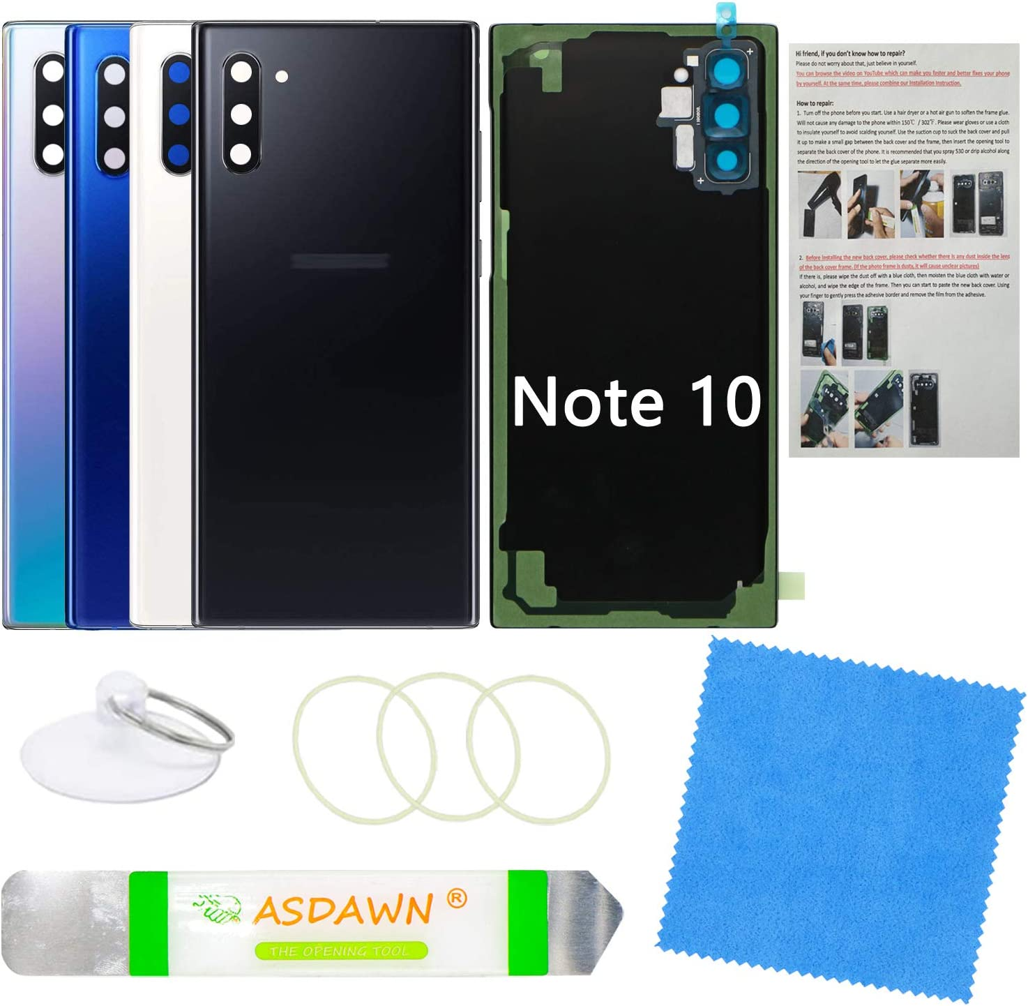 Galaxy Note 10 Back Cover Glass Replacement with Pre-Installed Camera Lens + All The Adhesive + Installation Manual + Repair Tool Kit for Samsung Galaxy Note 10 SM-N970 All Carriers (Aura Black)