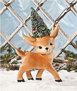 Bethany Lowe Designs Reindeer Bottlebrush Tree Retro Figurine Holiday Christmas Decor