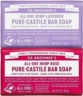 Dr. Bronner's Pure-Castile Bar Soap Bundle (2 Pack) – Lavender (5oz) & Rose (5 oz)