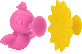Nuby Silly Hummingbird & Flower Interactive Suction Toys with Built-In Rattle, 2Piece, Pink