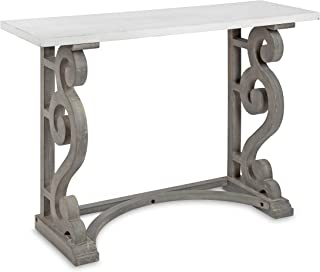 Kate and Laurel Wyldwood Solid Wood Farmhouse Console Table, Distressed White and Rustic Gray