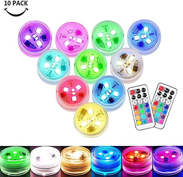 Small Submersible LED Lights Mini Waterproof LED Tea Lights Candles Multi Color Battery Powered With Remote Control Party Events Home Vase Swimming Pool Pond Decoration Lighting 10PACK
