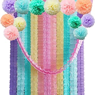Four Leaf Tissue Paper Garland with Tissue Pom Poms Flowers Streamer Backdrop for Birthday Party Decorations, 24 Pack