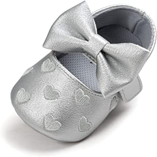 BENHERO Infant Baby Girls Slippers Shoes Soft Sole PU Leather Moccasinss Toddler First Walker Crib Dress Shoes(12-18 Months Toddler, C-Silvery)