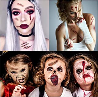Garma Halloween Scary Temporary Tattoo - Fake Bleeding Wound Scar Blood Spider Knife Stickers 292 PCS for Halloween Cosplay Costume
