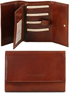 Tuscany Leather Esclusivo portafogli in pelle da donna 4 ante Marrone