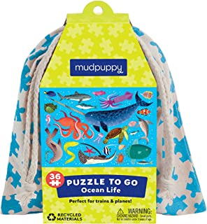 """Mudpuppy Ocean Life Puzzle to Go, 36 Pieces, 12 x 9"""" – Great for Kids Age 3+ – Packaged in Travel-Friendly Drawstring Fabric Pouch – Perfect for Airplanes, Cars, Trains, 073536334X, Multicolor"""