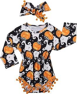 My First Halloween Outfit Sets Newborn Pumpkin Bodysuit with Headband Baby Girls Clothes