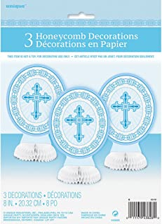"8"" Radiant Cross Blue Religious Centerpiece Decorations, 3ct"