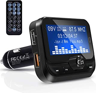"""ZINTOU Bluetooth FM Transmitter for Car,1.8"""" Large Display Wireless Radio Adapter Music Player Car Kit with Remote Control,Fast Charger,4 Music Play Modes,Hands Free,AUX Input&Output - BC32RC Black"""