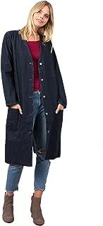 Women's Denim Button Down Collarless Long Shop Coat