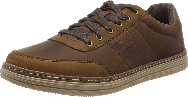 Skechers Mens Heston - Avano Low Profile Leather Lace Up shoes Dark Brown Size UK 8 EU 42