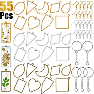 Open Bezels for Resin, 55 Pcs 10 Styles Pendant Frame Bezel Charms with Keychain Rings and Earring Hooks for Jewelry Making Resin Earrings Necklace Bracelet DIY