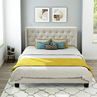 Upholstered Bed Frame Queen, WeYoung Upholstered Platform Bed with Classic Headboard and Wood Slat Support Box Spring Needed (Beige)