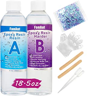 FanAut Epoxy Resin Crystal Clear for Art, Crafts, Tumblers, Casting and Jewelry Making 18.5 Ounce with 2 Droppers, 2 Stick...