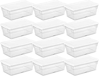STERILITE Caja para Almacenamiento con Tapa abatible, 12 Unidades, Clear, White, 5,67L, 12