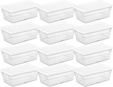 Sterilite 16428012 6 Quart/5.7 Liter Storage Box, White Lid with Clear Base (Pack of 12)