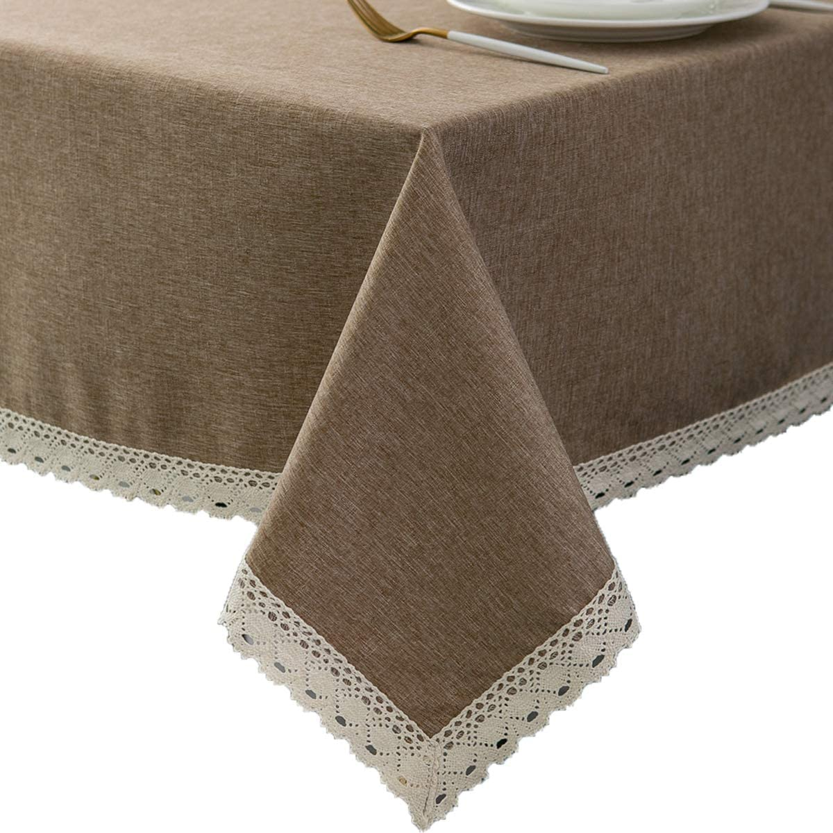 EHouseHome Faux Linen Tablecloth with Lace Trim - Waterproof/Spill Proof/Stain Resistant/Wrinkle Free/Oil Proof - for Banquet, Parties, Dinner,Kitchen,Wedding,Coffee,Holiday,Flax,Rectangle 60x120Inch