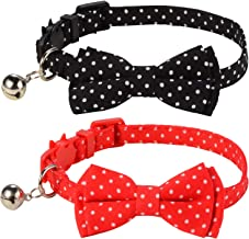 LaReine Pack of 2 Safety Breakaway Bowtie Cat Collars with Bell
