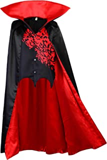 Kids Vampire Cape with Vest Stand Collar Cloak Children Black Red Dracula Halloween Costume Carnival Dress Up
