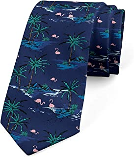 Mathillda Corbata para hombres, palmeras flamencas oceánicas, mar ...